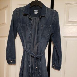 Girls dark denim dress with belt